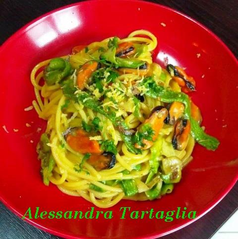 Spaghetti con Cozze e Zucchine Romanesche