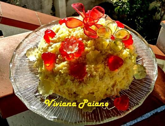Torta Mimosa con Fiori di Gelatina di Frutta