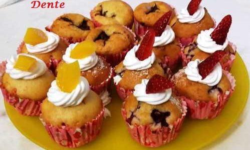 Muffin con Fragole Pesche e Nutella