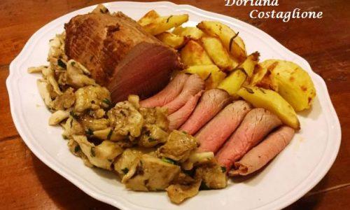 Roast Beef con Patate al Forno e Funghi